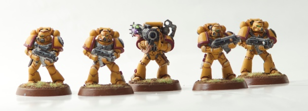Imperial Fists combat squad with a missile launcher