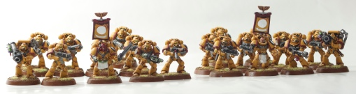 Two Imperial Fists tactical marine squads
