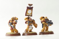 Tor Garadon with a tactical marine with flamer and a tactical marine with a bolter