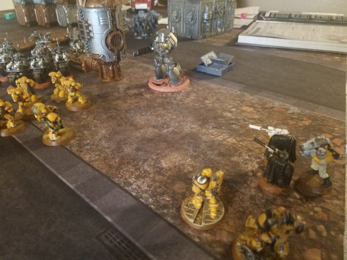Imperial Space Marine Fires on Contemptor Dreadnought