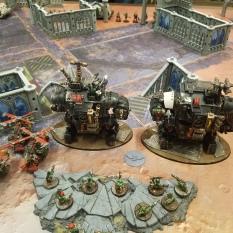 Gorkanaut and Morkanaut setup and prepare to advance down the center